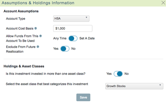 How to add an HSA account into the WealthTrace Planner