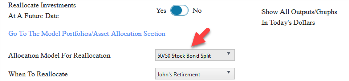 Reallocate to a 50/50 split between bonds and stocks when retired