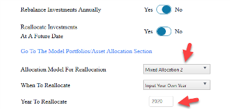Setting To Change Asset Allocation In WealthTrace