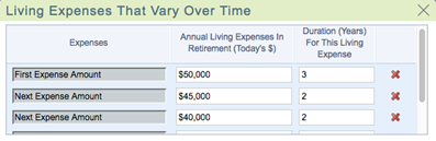 Vary Living Expenses Over Time Using WealthTrace